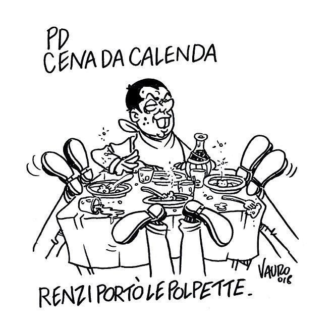 #Vauro #18settembreLa mia nuova vignetta per il @fattoquotidiano - #CenaCasaCalenda #cenapd #Renzi #Gentiloni #Calenda #Minniti  - Ukustom