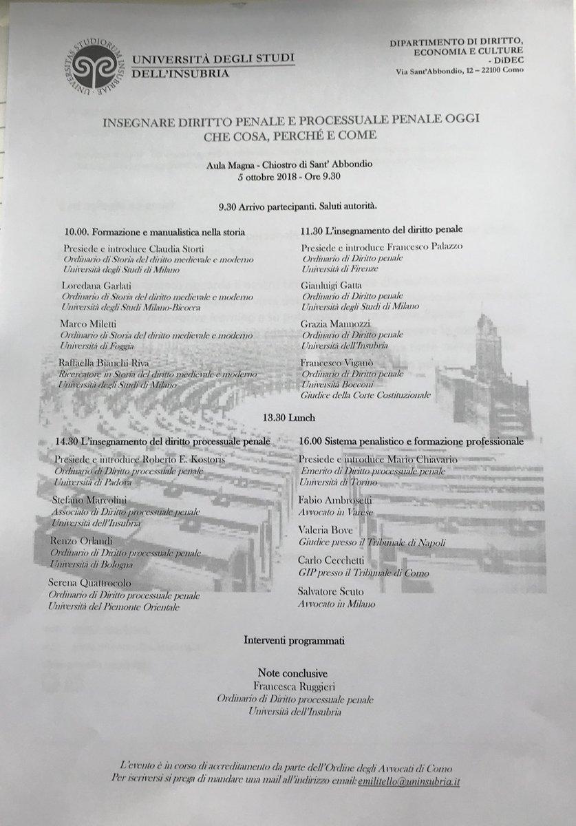Convegno sulla #didattica del #diritto penale e #processuale all'Università dell #Insubria  Como - 5 ottobre 2018 #formazione #giuristi #magistratura #avvocatura  - Ukustom