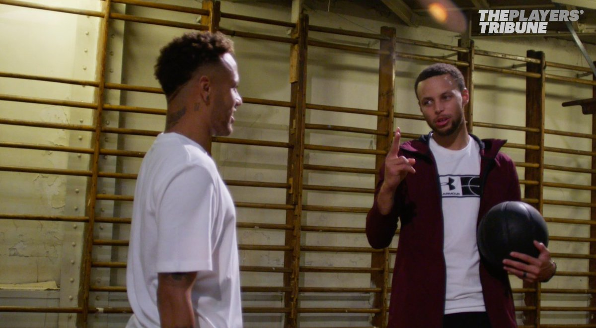 ⚡️@StephenCurry30 teaches @Neymarjr how to crossover. Neymar teaches Steph the rainbow flick. 🌈