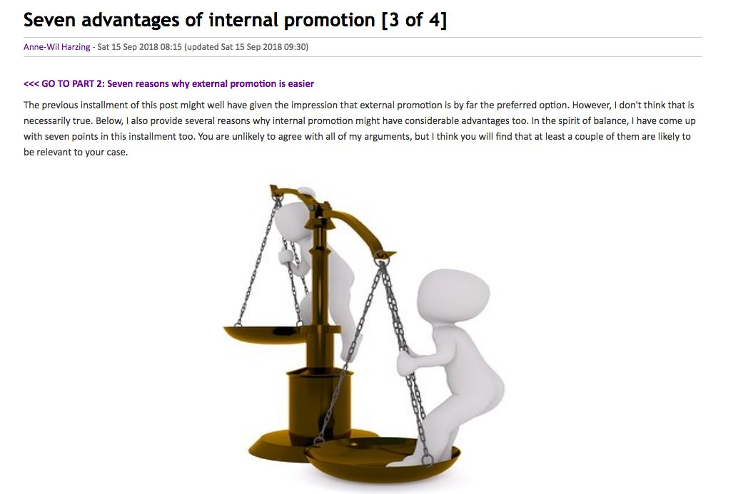 anne wil harzing on twitter internal promotion why it can have an