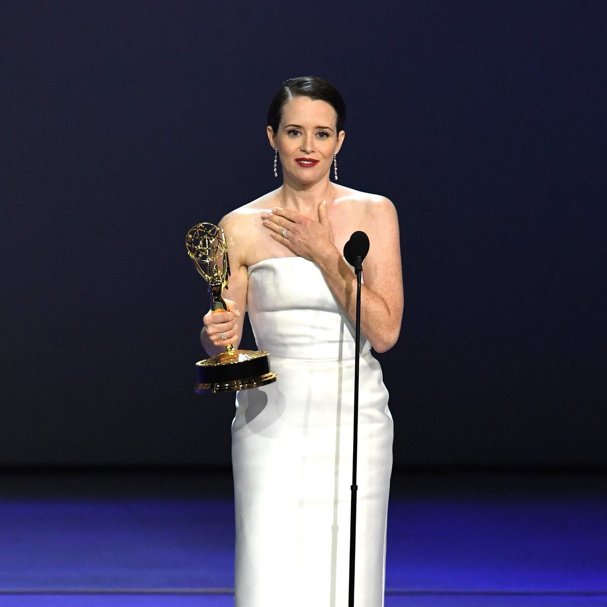 """""""I dedicate this to the next cast, the next generation. And I also dedicate this to Matt Smith."""" Congratulations Claire Foy, Outstanding Lead Actress - Drama. #Emmys"""