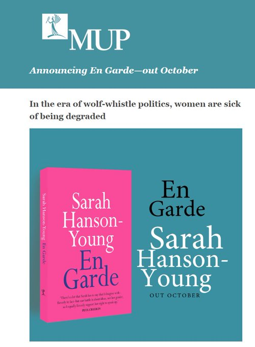 "Greens senator Sarah Hanson-Young on her new book, En Garde: Whether it is working in the classroom, on the shop floor or in the parliament, women deserve to have a voice, and we're not going to be slut-shamed for using it."" #auspol Photo"