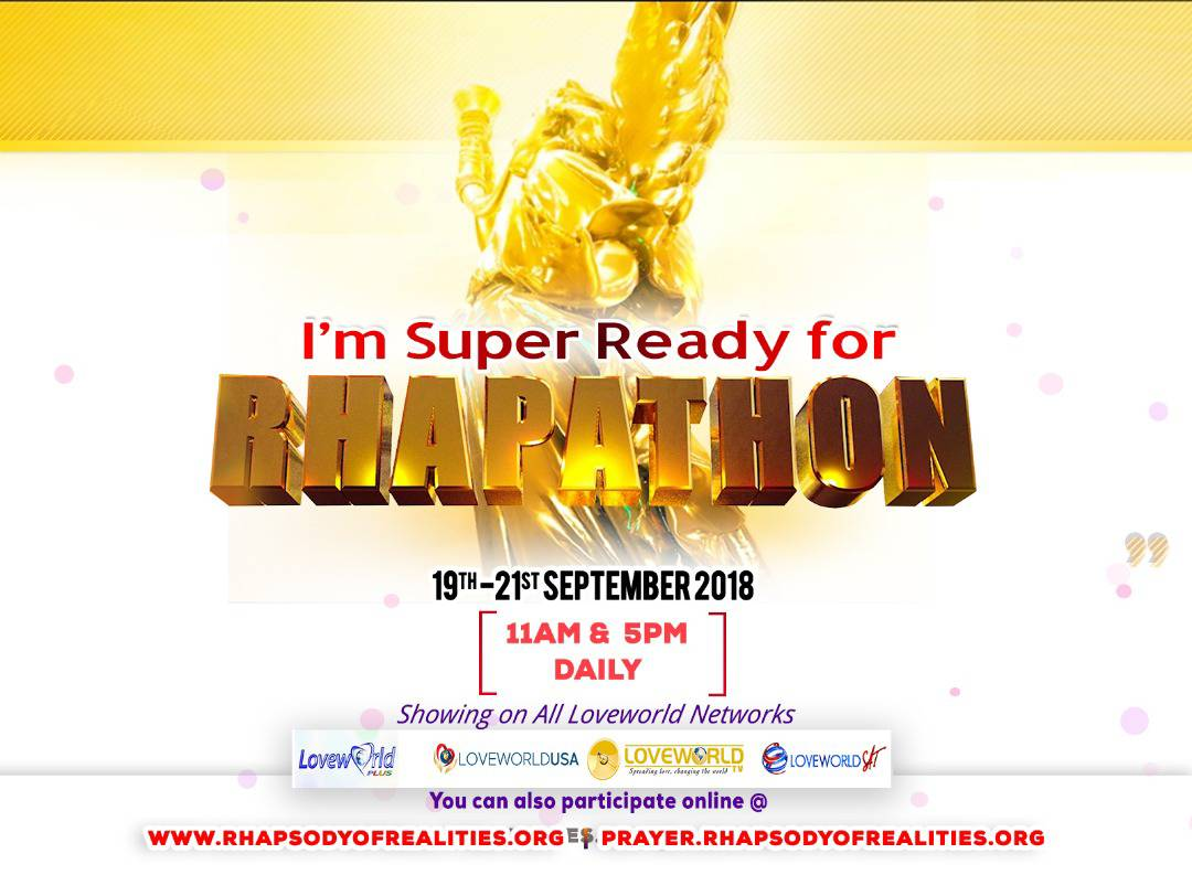 IT'S  HAPPENING TOMORROW   Friday 21st September 2018.  Save the Date!  Watch out for More details.  Rhapathon with Rhapsody of Realities ...Totally Epic  #rhapathonwithrhapsody #rhapsodyofrealities http://www.rhapsodyofrealities.org