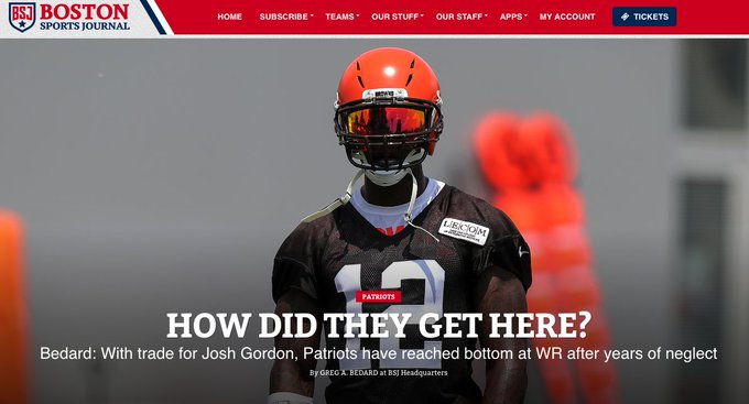 Patriots have the fewest homegrown WRs in the NFL (1) and most acquired by trade (3). How they became so desperate at an important NFL position (3 are used 59% of the time) to have to entertain the likes of Josh Gordon @BostonSportsBSJ Photo