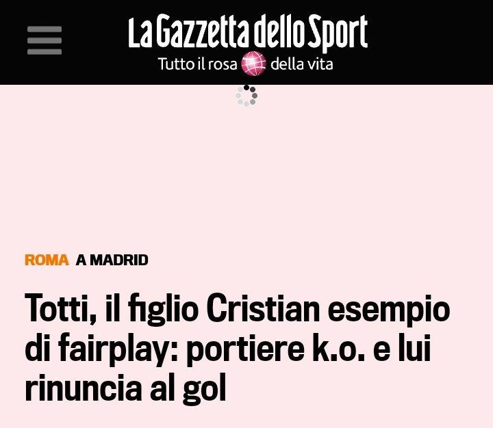 Grazie @Totti  per aver trasmesso a tuo figlio Cristian i veri valori del calcio ... e lui a soli 12 anni li ha gia messi in atto !!!#chapeau #totti #cristian  - Ukustom
