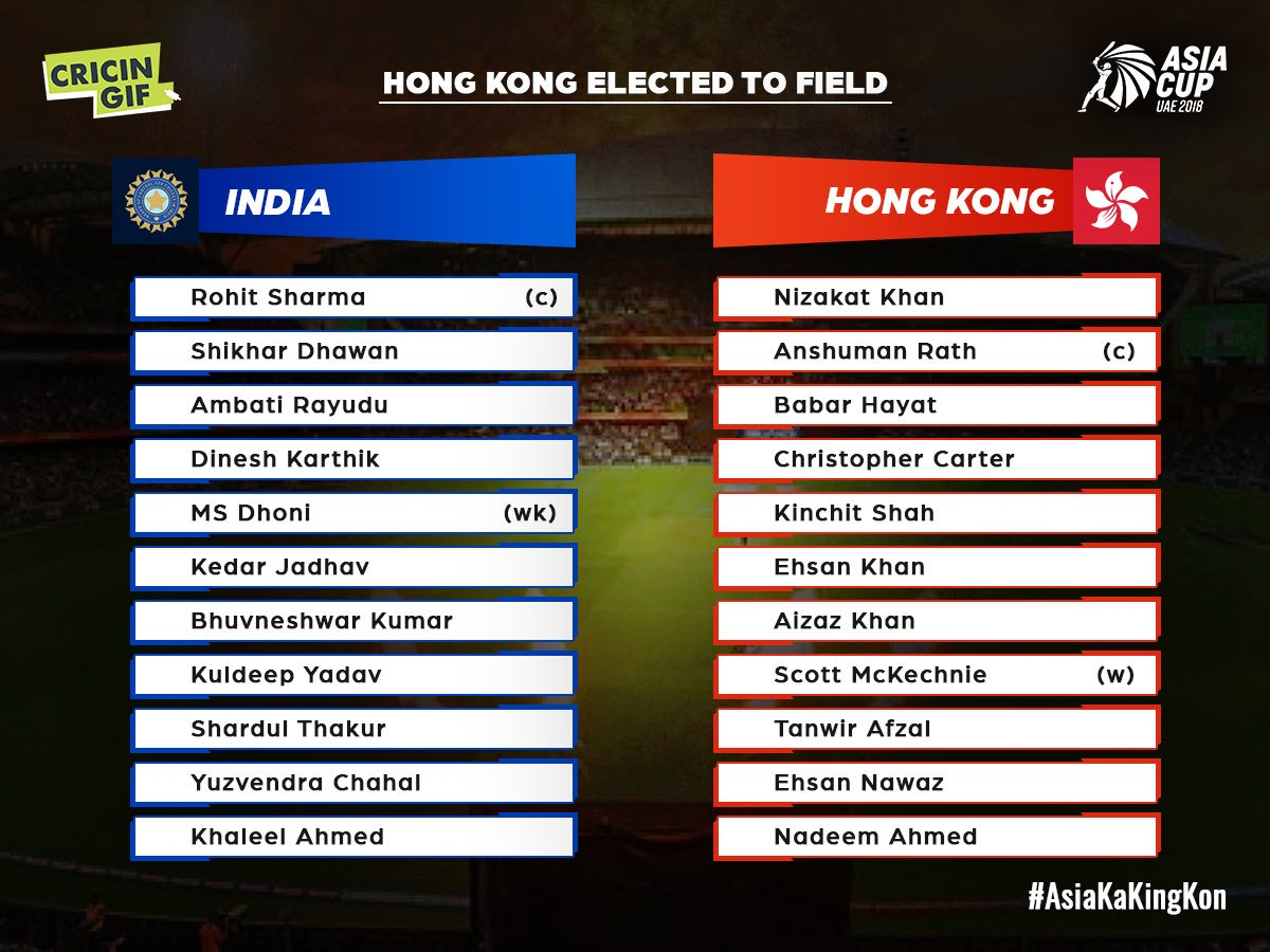 This is how the two teams will take field today. What target should India set for Hong Kong? #INDvHK #AsiaCup2018 #AsiaKaKingKon Scorecard & ball-by-ball: cricingif.com/match/3920/