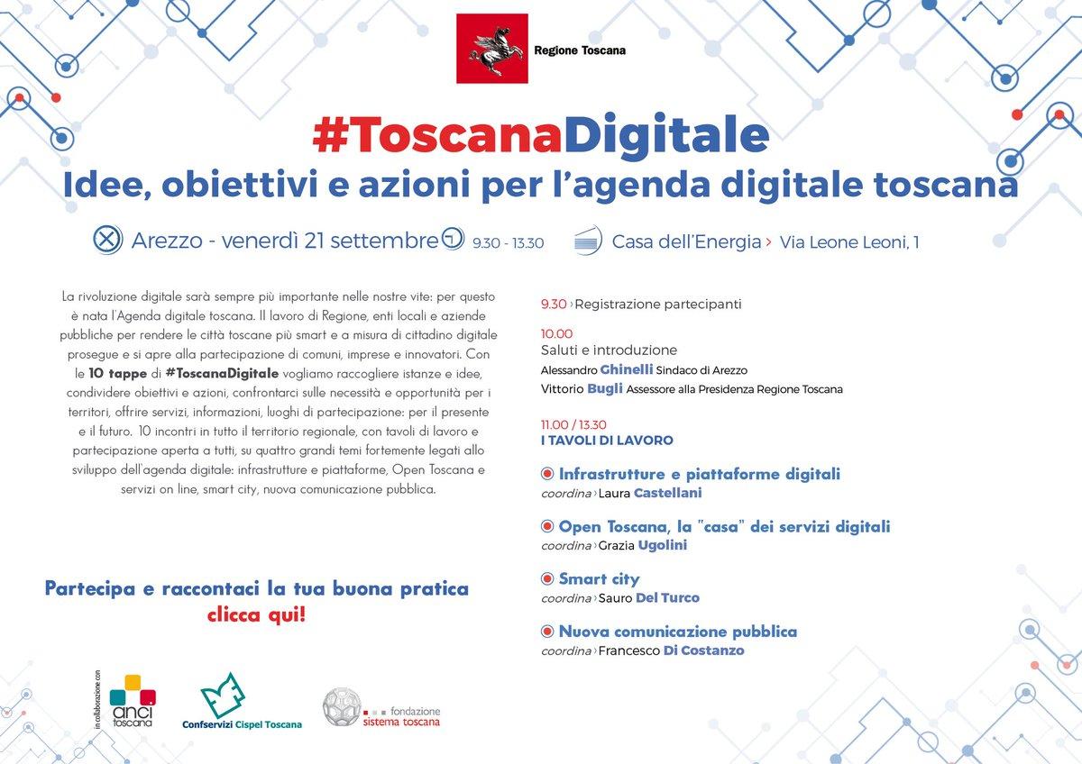Continua il percorso #ToscanaDigitale. Venerdì 21 appuntamento ad Arezzo. Qui informazioni e iscrizioni ai tavoli di lavoro su infrastrutture, servizi, smart city, nuova comunicazione pubblica  http:// www.regione.toscana.it/-/toscana-digitale-tour-in-toscana   - Ukustom