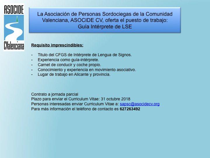 ASOCIDE-CV oferta puesto de trabajo: Guia-Intérprete de LSE - Alicante DnXTDypWsAAFUVb