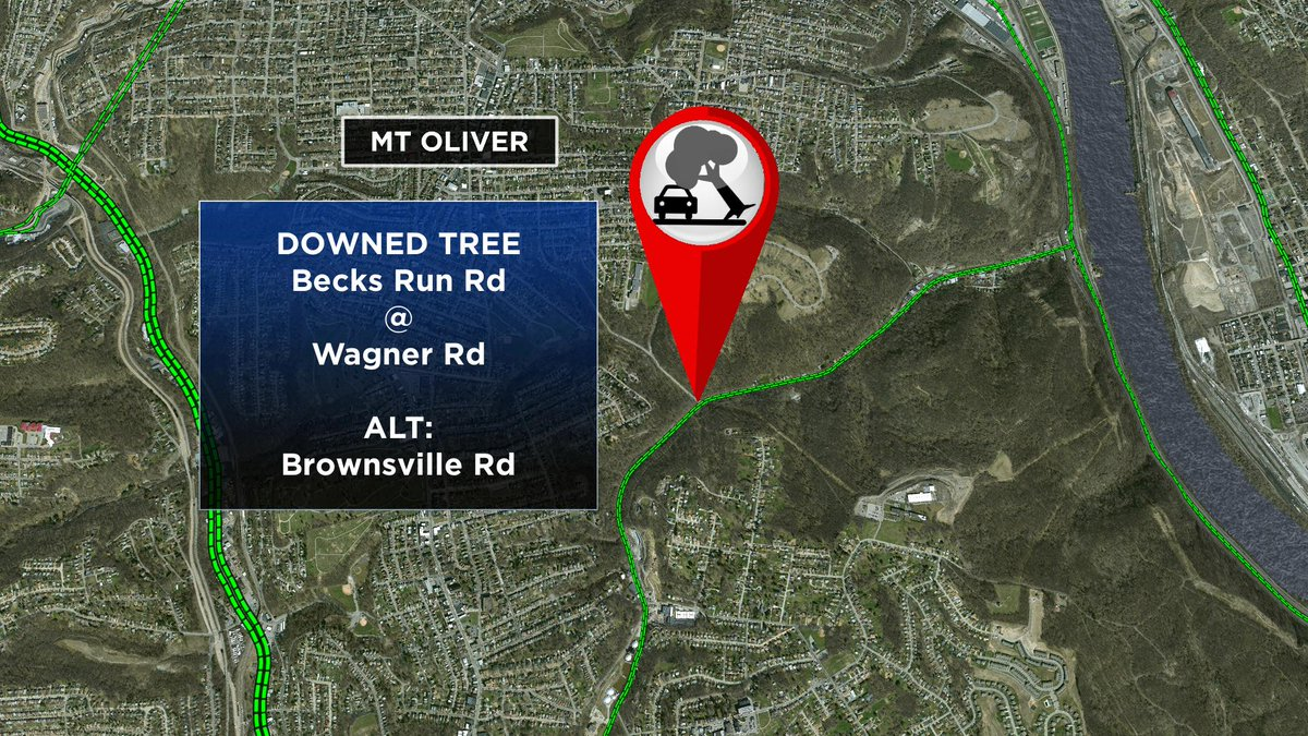 Fallen tree blocking Becks Run Rd at Wagner Rd. Take Brownsville Rd as an alternate route. @KDKA