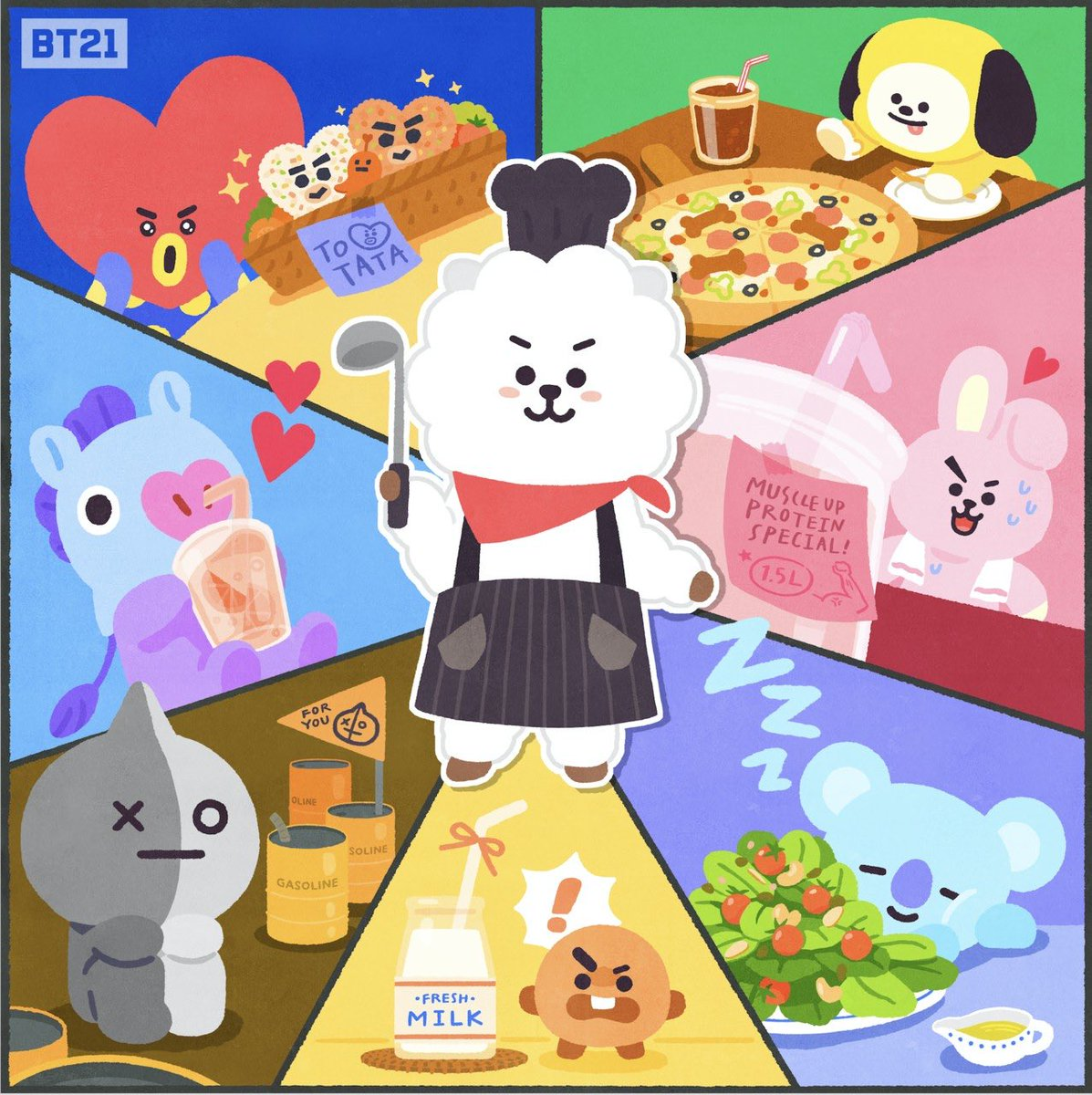 Cooking skill level up! Perfect dishes for each❓⁉️ #Noo #SHOOKY #Cook #RJ #BT21