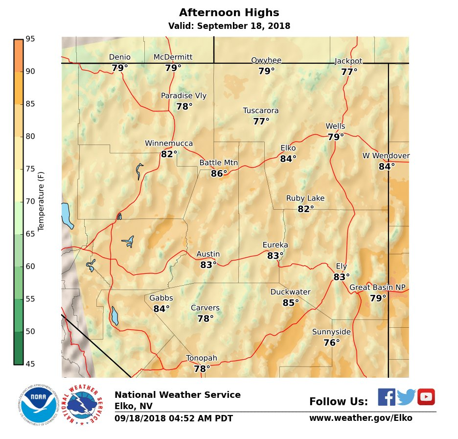 Sunny and warm again today with highs in the 80s. Increasing clouds across far northern NV on Wednesday as a cold front pass through the Pacific Northwest cooling temperatures a  few degrees. Warmer Thursday on through the weekend.   https://t.co/QQZHRDxu5w