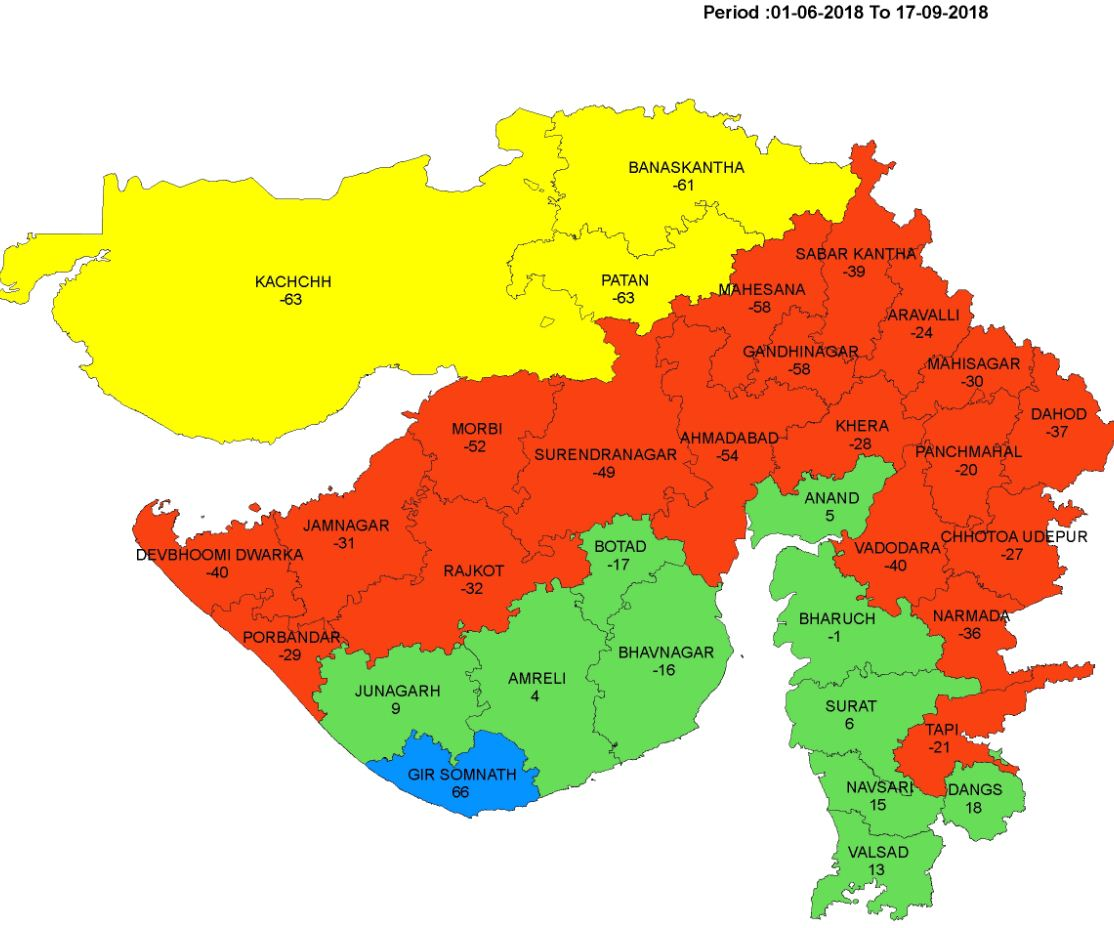 Withdrawal of Monsoon from Gujarat delayed Eighth time in a row