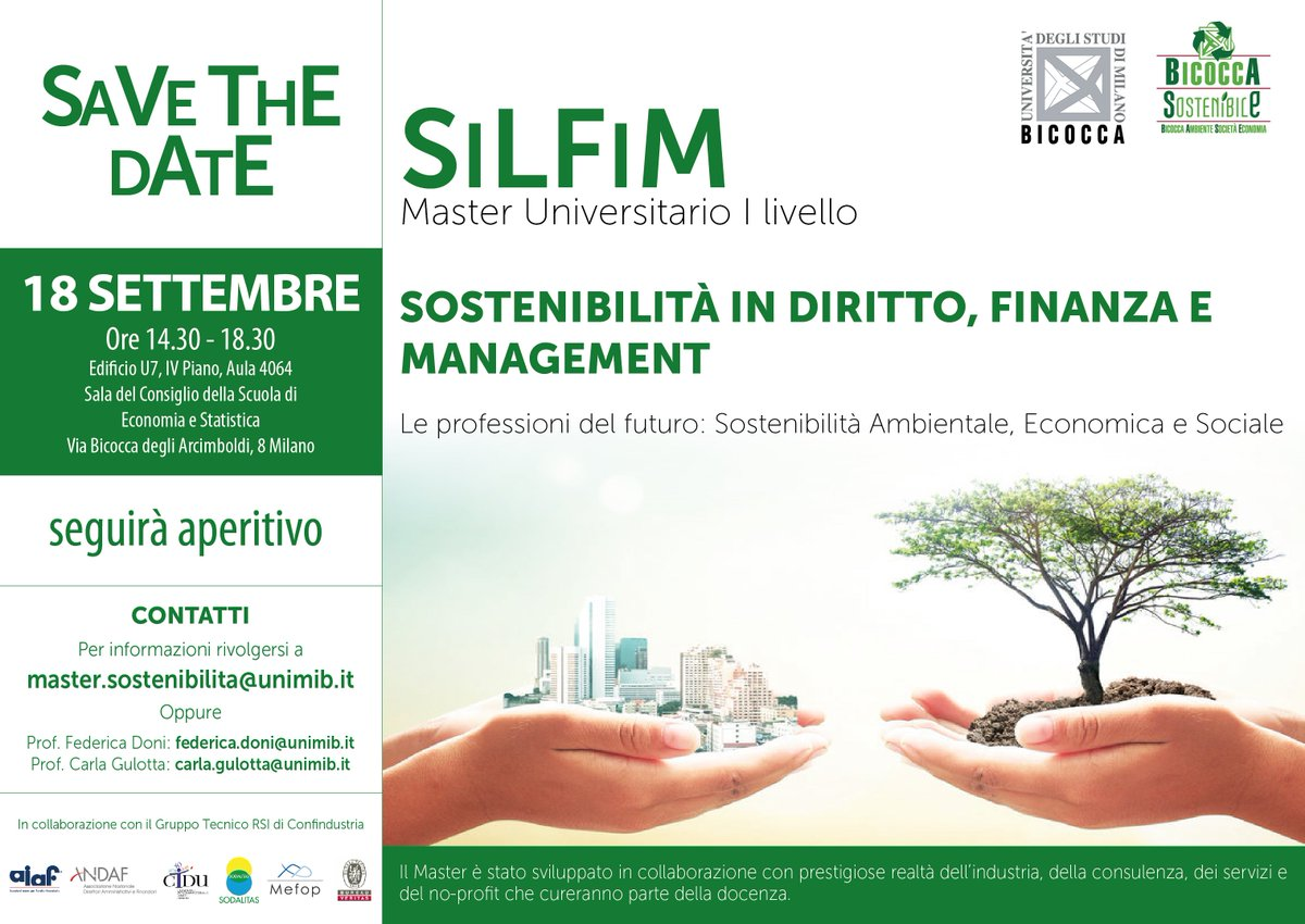 """""""SiLFiM #Sostenibilità in #diritto, #finanza e #management"""": oggi saremo  alla presentazione del primo Master che affronta il tema della  sostenibilità dell'attività d'impresa a 360°! Scopri di più: http://goo.gl/C84jxP  - Ukustom"""