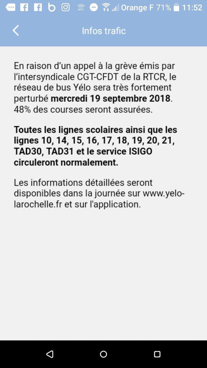#LaRochelle Mercredi 19 septembre, le réseau #Yélo sera très fortement perturbé en raison d'un appel à la grève émis par l'intersyndicale CGT-CFDT de la #RTCR.