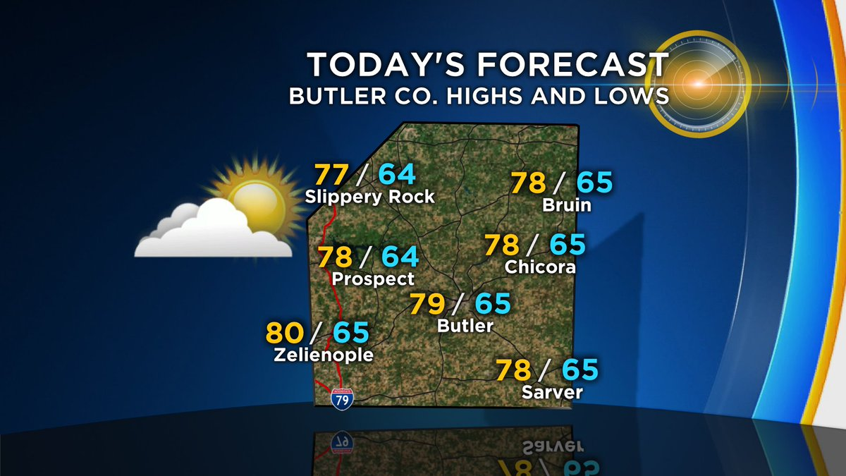 Today's high/low model data forecast for #Butler county. For more go to KDKA.com. #upwithKDKA