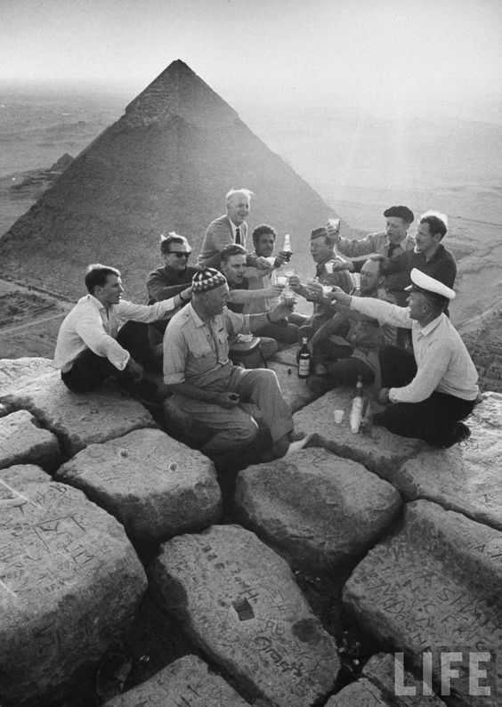 Tourists partying at the top of a pyramid in the 1940's. #Egypt Credit: Life Magazine