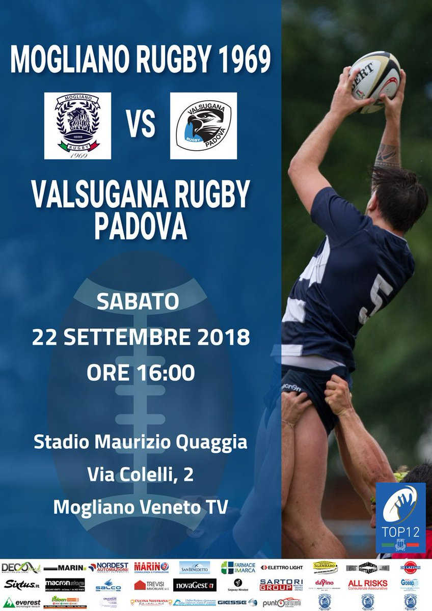 Mogliano Rugby 1969 vi aspetta allo #StadioQuaggia per il match contro il #Valsugana di sabato prossimo INGRESSO LIBERO #MOGvVAL #Top12 @Federugby  https:// www.facebook.com/events/324350781475437/  - Ukustom