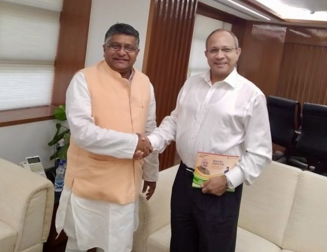 Pankaj Saran, newly appointed Deputy NSA called on me today. We discussed the digital inclusion under #DigitalIndia program as well as cyber security issues.
