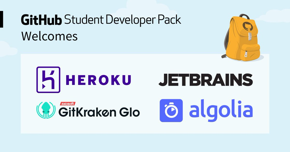 Life as a student can be tough *and* expensive. That's why the Student Developer Pack exists!  Plus, it now comes equipped with @algolia, @heroku, @GitKraken Glo Boards, and @jetbrains so you can keep developing—without the price tag. https://t.co/c79p0QBmfD