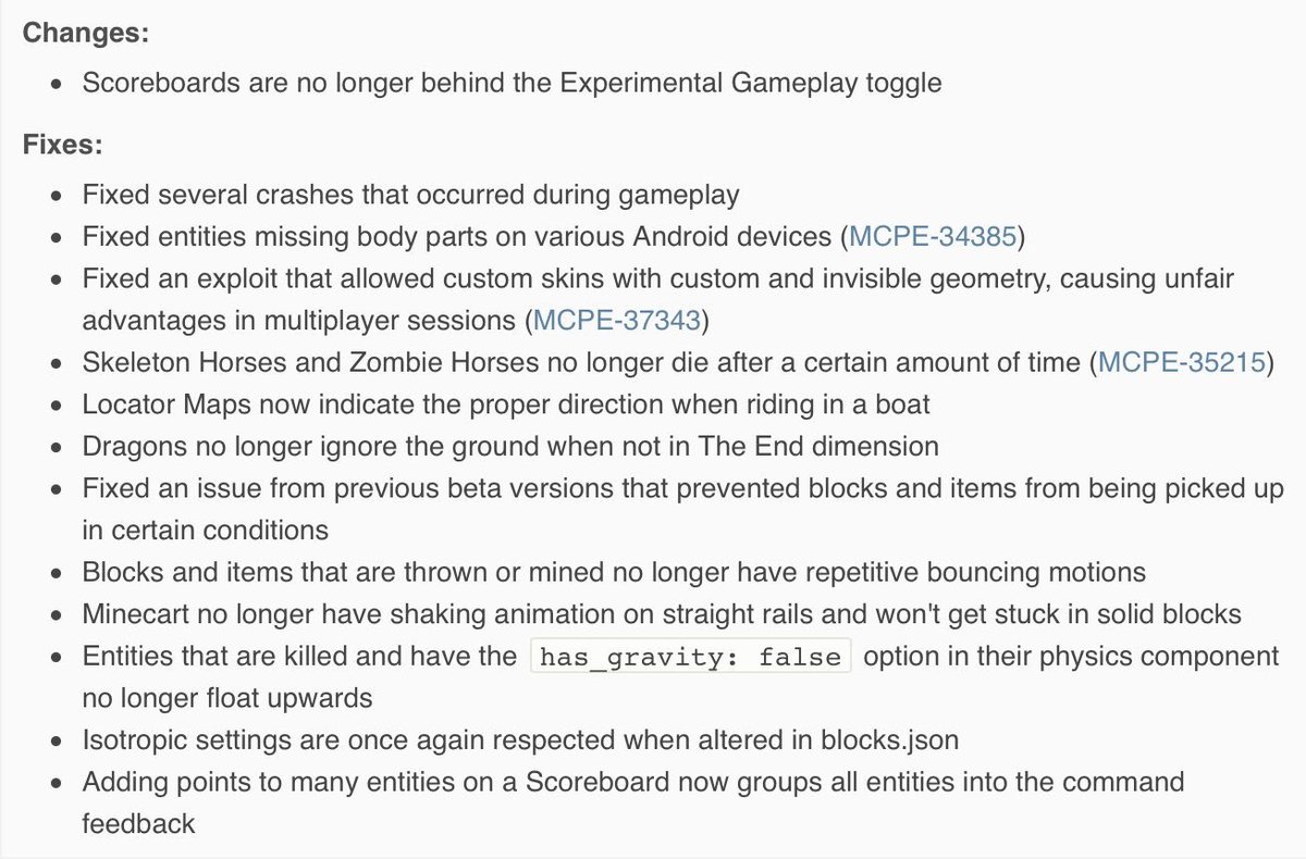 Minecraft News On Twitter Heres The Changelog For Mcpe