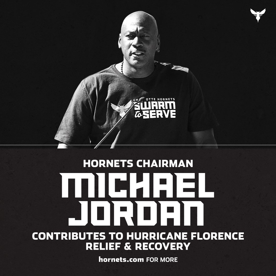 As part of the Hornets' effort to assist those affected by Hurricane Florence, Chairman Michael Jordan will be making a donation to the relief and recovery efforts: https://t.co/P598eC8M1O   We encourage our fans to #SwarmToServe by donating here: https://t.co/odErapSCej