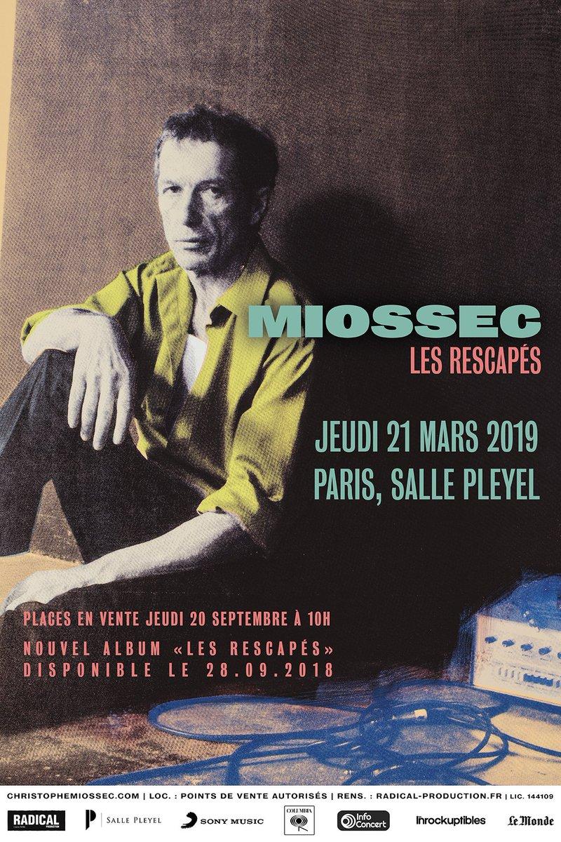 [ ANNONCE ] @MiossecOfficiel en concert le 21 mars 2019 - @sallepleyel  [ OUVERTURE DES VENTES ] Jeudi 20 septembre à 10h sur https://t.co/7H1VqkDjn9 https://t.co/KGSmGRirew