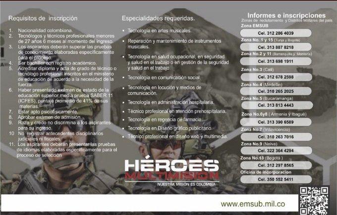 ¡Únete al equipo de los Héroes Multimisión! Inscríbete al curso de suboficiales administrativo mixto en cualquier zona de reclutamiento o distrito militar del país, conoce todas las carreras y requisitos en nuestra página #FelizMartes 🇨🇴 Photo
