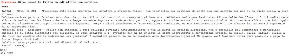 #Divorzio: Giro (#FI), smentita Pillon su ddl affido non convince  - Ukustom