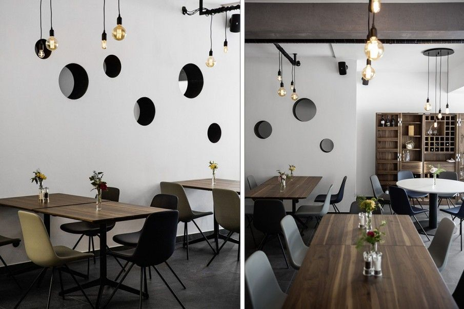 Understated yet quirky restaurant design featuring Step dining chairs https://t.co/vpI5ko9dI4  #interiorstyling #FurnitureDesign