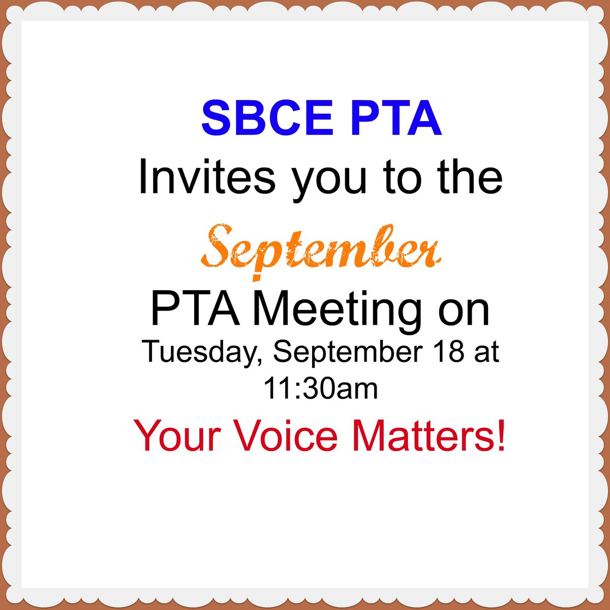 Sbce Pta On Twitter Join Us Today At 11 30am For The September Pta