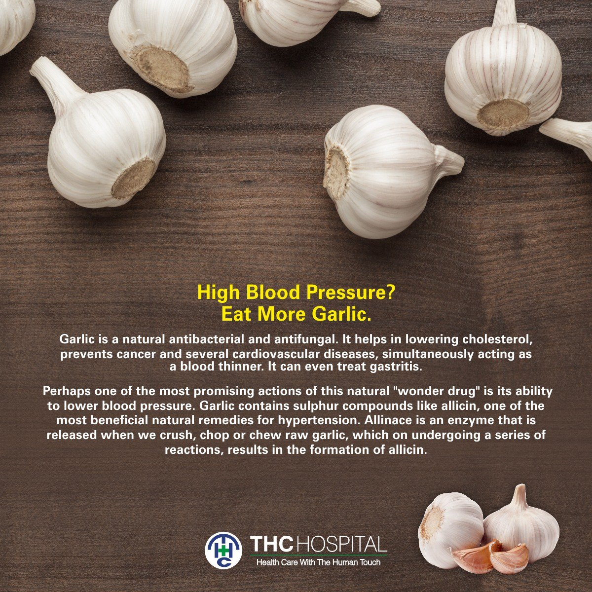 """THCHospital on Twitter: """"Follow @thchospital for more on #health and  #wellbeing. Tag someone who'll like this! #THCcares https://t.co/sZ9yUNPQ6Q  #thanehealthcare #HighBloodPressure #Eat #Garlic #natural #antibacterial  #antifungal #cholesterol #cancer ..."""