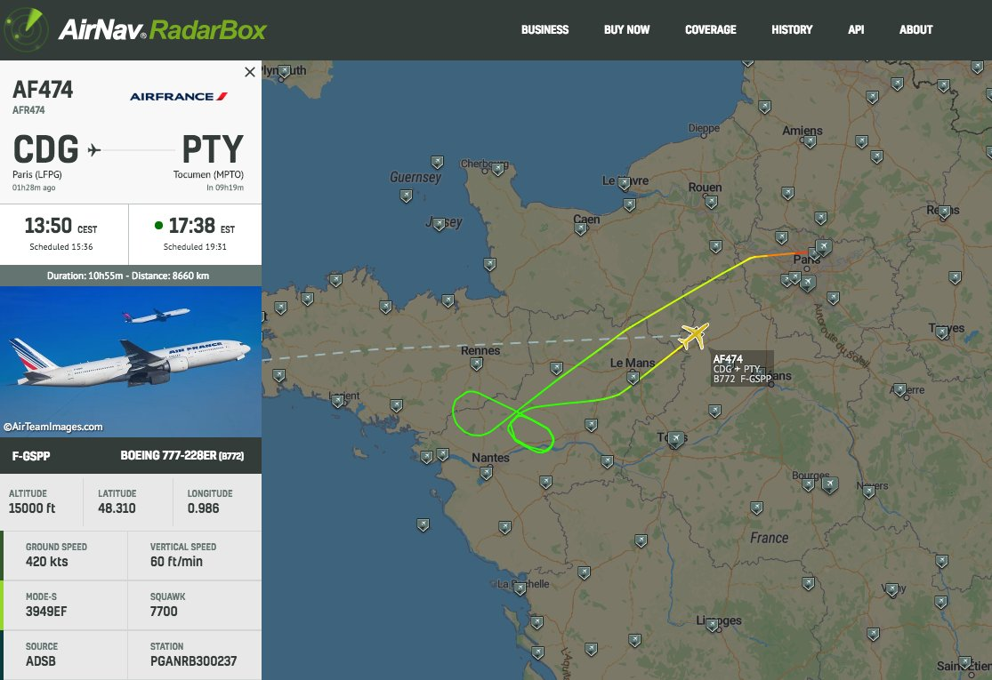 @airfrance #AF474 is declaring an emergency and returning to Paris CDG #radarbox https://t.co/kv5hpl1QeX