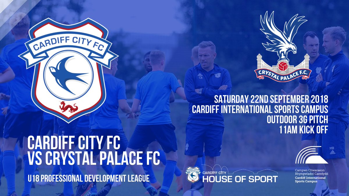 U18 | @CF11Academy vs @CPFC, Saturday 22nd September, 11:00. 📆 Venue: Cardiff International Sports Campus (Outdoor 3G pitch) via Lawrenny Avenue, Cardiff, CF11 8BR. 📍 Free entry for all, head down before the big match! ✅ #CityAsOne 🔵⚽🔵⚽