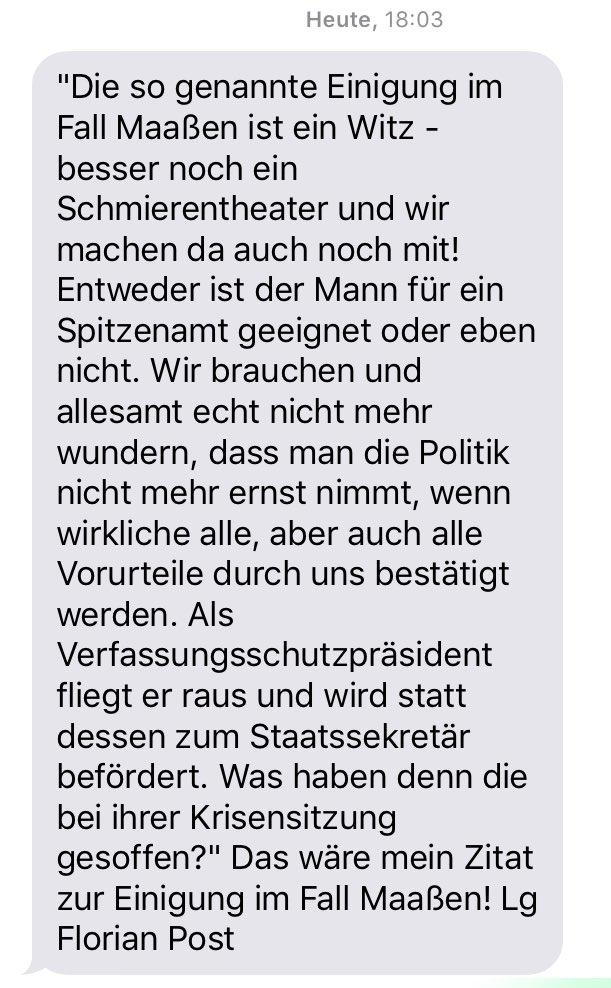 """""""Was haben denn die bei ihrer Krisensitzung gesoffen?""""  Der #Maaßen-Deal kommt nicht bei allen Sozialdemokraten gut an - vorsichtig formuliert. Das schrieb mir der Bundestagsabgeordnete @FlorianPost"""