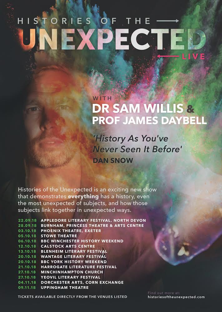 Sam Willis and James Daybell are putting on a live show of their podcast, Histories of the Unexpected, at the Exeter Phoenix. Tickets on sale now. @UnexpectedPod https://t.co/uhYuu63XJ4