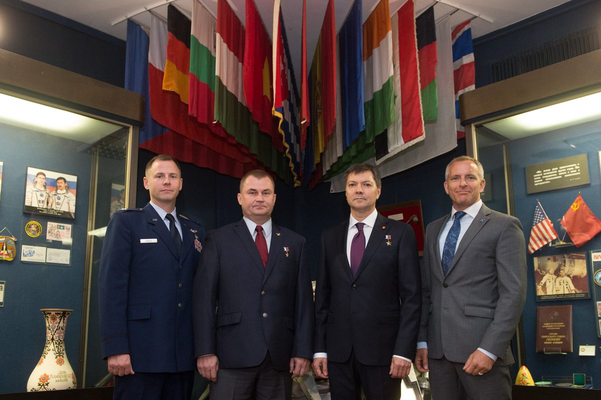 Expedition 57 prime and backup crews pose for pictures Sept. 17 as part of traditional prelaunch activities. Nick Hague (@AstroHague) of @NASA and Alexey Ovchinin of @roscosmos will launch Oct. 11 on the Soyuz MS-10 spacecraft for a six-month mission on the station.