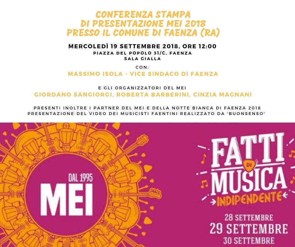 mercoledì 19 settembre vi aspettiamo alla #conferenzastampa di presentazione del #meifaenza2018#faenza #romagna #musica #eventi #musicaindipendente  - Ukustom