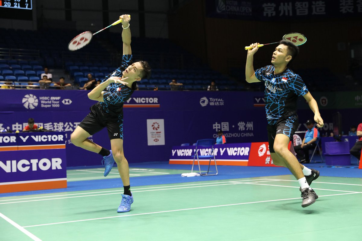 Pasangan ganda putra Indonesia, Fajar Alfian/Muhammad Rian Ardianto mengalahkan unggulan ketiga asal Jepang, Takeshi Kamura/Keigo Sonoda pada babak pertama China Open 2018, Selasa (18/9/2018).