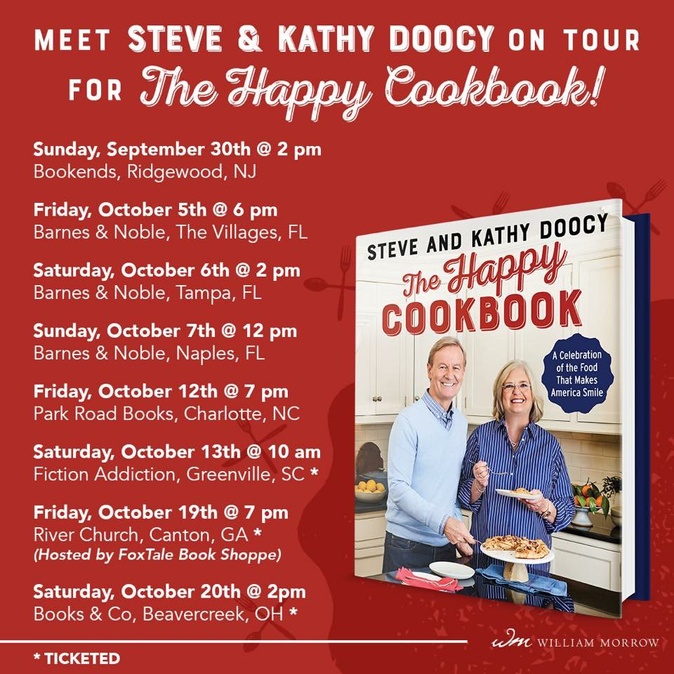 Meet Steve & Kathy Doocy on 'The Happy Cookbook' tour! To purchase your own signed copy, visit:   https://t.co/rdjGUBt4zAhttps://t.co/Vy42WjMJ9yhttps://t.co/Pms1hhhvUG