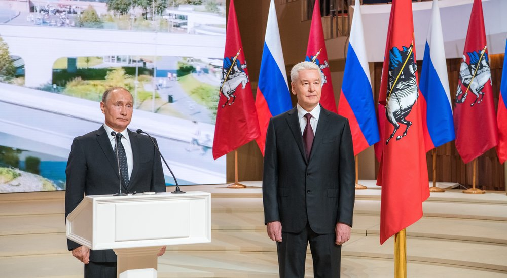 #MeanwhileInMoscow Sergei Sobyanin, who won 70 percent of the vote in Moscow's recent mayoral elections, was sworn in  for his second term at Zaryadye Park in central Moscow (Photo: Denis Grishkin / Moskva News Agency)