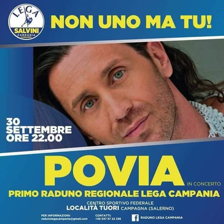 Wow, alla manifestazione leghista in #Campania canta #Povia. Ognuno ha i riferimenti culturali che si merita. #legam5s #omofobia  - Ukustom