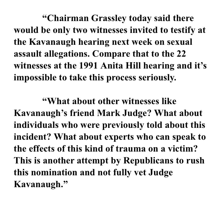 "Feinstein statement slams Grassley for trying to limit Kavanaugh/Ford hearing saying compare that to the ""22 witnesses at the 1991 Anita Hill hearing."""
