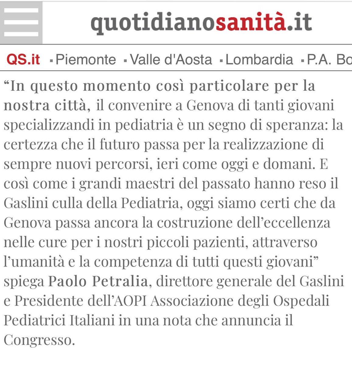 Dg @OspedaleGaslini annuncia congresso nazionale specializzandi italiani pediatria a #Genova dal 19 al 22 settembre  - Ukustom