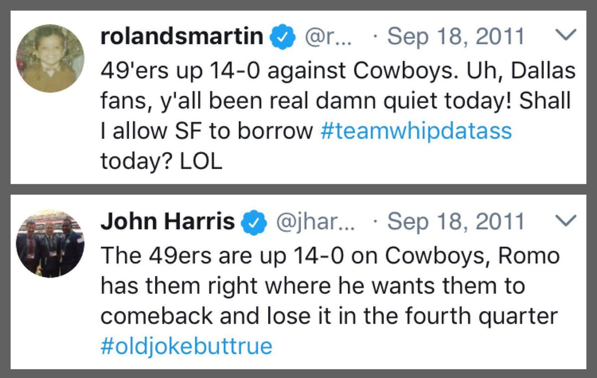 """Today, seven years ago #Cowboys vs. #49ers:  -SF goes up 14-0 early -Dan Bailey misses chippy, people call for him to be cut -Romo is knocked """"out for the game&quot; -Romo comes back in, gets criticized -Romo throws TD to Holley in OT, Cowboys win 27-24 <br>http://pic.twitter.com/odKR14CXwQ"""