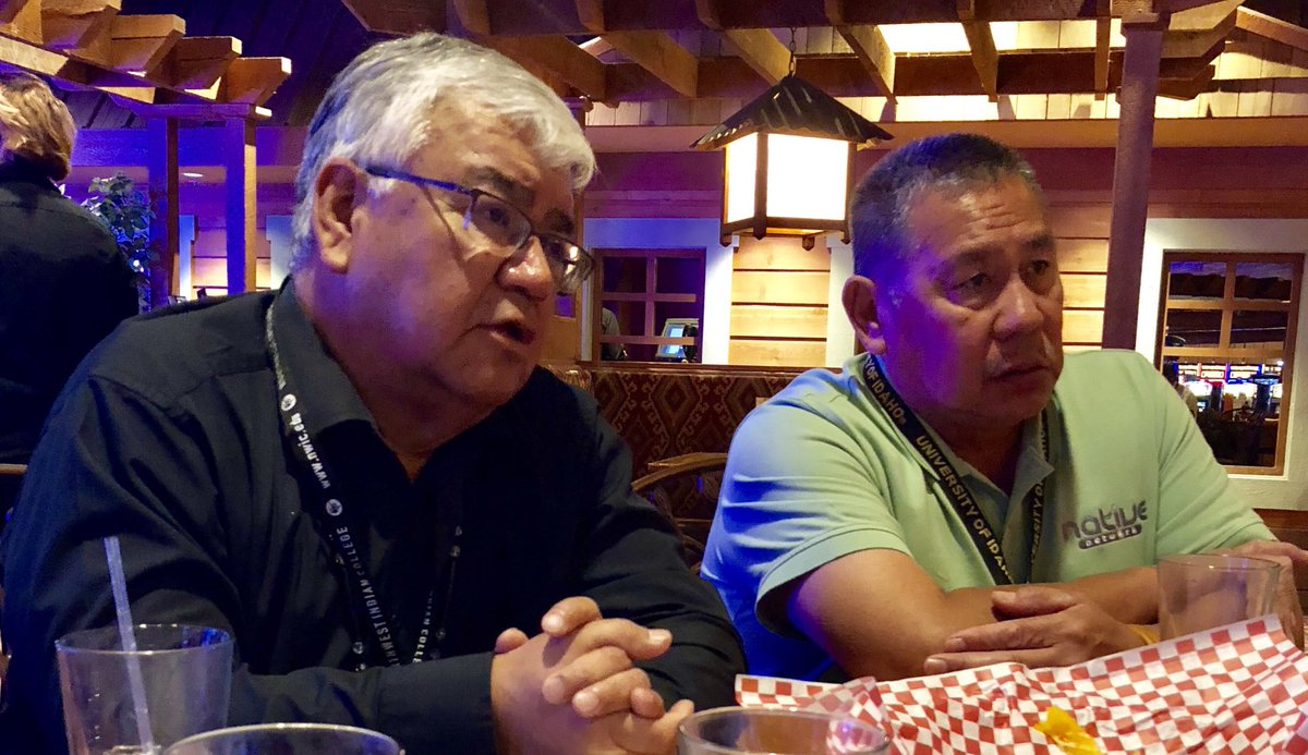 Our dynamic duo! Henry Cagey (Lummi), VP of Native Affairs and Jose Matanane (Cheyenne & Arapaho), VP of Business Development in Indian Country discussing the current tribal telecom & broadband landscape during the @atnitribes 2018 Fall Convention. #tribalbroadband #tribaltelecom