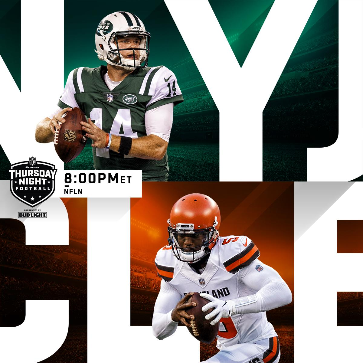 NEXT: @nyjets vs. @Browns on #TNF!  ��: #NYJvsCLE: Thursday (8PM ET) on @nflnetwork https://t.co/iqUklL0V5P