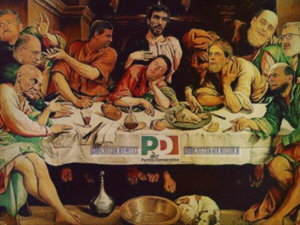 """#Pd,""""l'ultima cena""""...e quindi ci auguriamo """"l'ultima volta che vediamo le loro facce""""#martina#renzi#calenda#zingaretti#gentiloni#bersani#dalema#letta#minniti#emiliano  - Ukustom"""