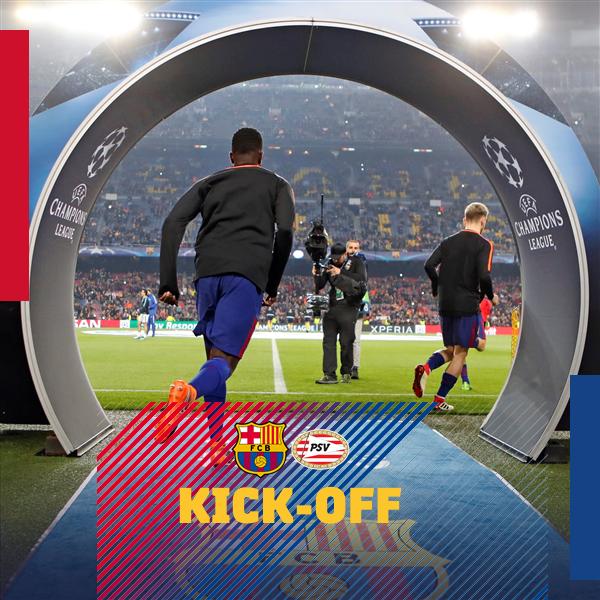 💪 The game is under way! ⚽ Barça 🆚 PSV 📍 Camp Nou 🔴🔵 #BarçaPSV Photo