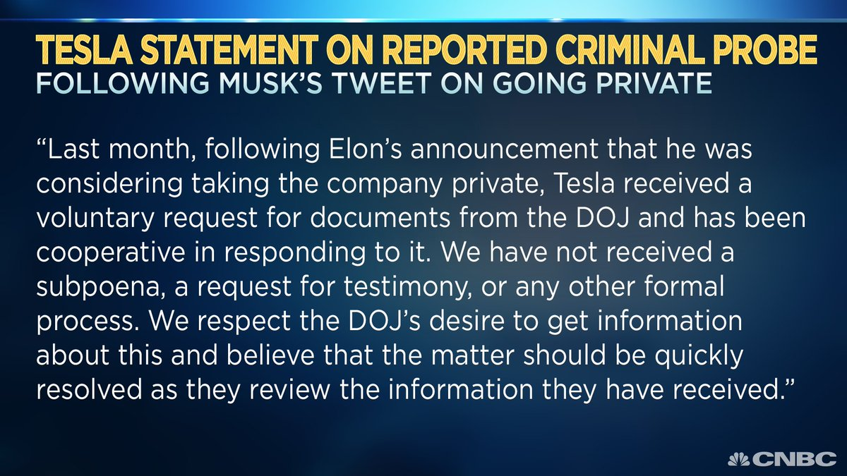 BREAKING: Tesla says it has  'received a voluntary request for documents from the DOJ and has been cooperative in responding to ithttps://t.co/2c272KfMhC '