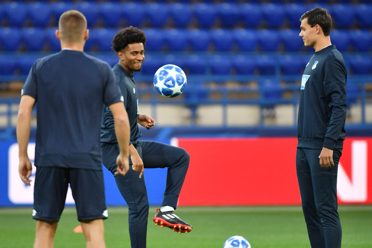 On-loan Arsenal teenager Reiss Nelson trains ahead of Hoffenheim's Champions League debut on Wednesday.  His parent club have to wait to until Thursday to play...